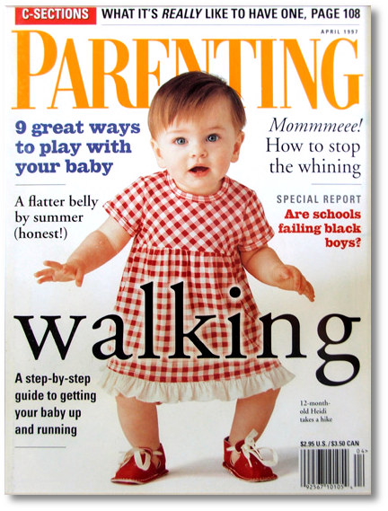 Baby booties on the cover of Parenting